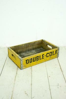 VINTAGE WOODEN DOUBLE COLA SODA CRATE 70s RETRO TRUG BOX