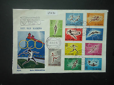 San Marino 1963 Olympic Games (1st Issue) (10v Set) FDC