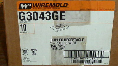 New 1Pc Wiremold G3043Ge Duplex Receptacle 2-Pole 3 Wire 15A 125V Finish : Gray