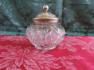 Vintage Patterned glass pot with silver plated lid and spoon