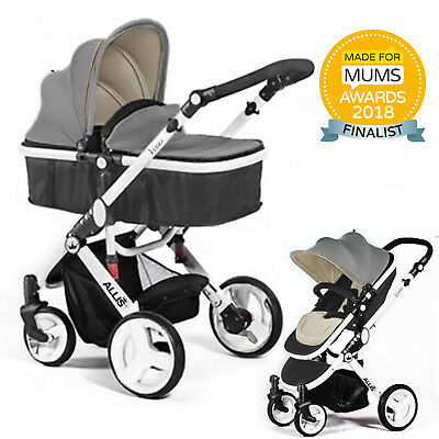 Allis 2 in1 Baby Pram Pushchair Stroller Buggy Carry Cot Travel System Grey