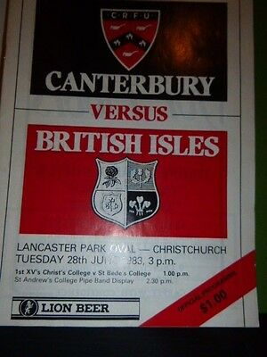 British Lions V Cantebury Rugby  Programme  1983