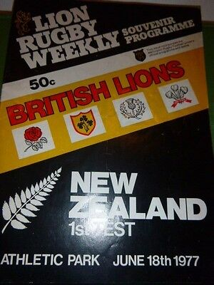British Lions V New Zealand  Rugby  Programme First Test 1977