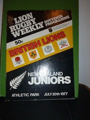 British Lions V New Zealand Juniors  Rugby  Programme  1977