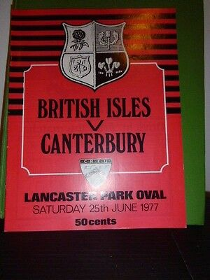British Lions V Cantebury Rugby  Programme  1977