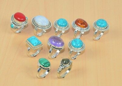 Wholesale 10Pc 925 Solid Sterling Silver Natural Turquoise & Mix Stone Ring Lot