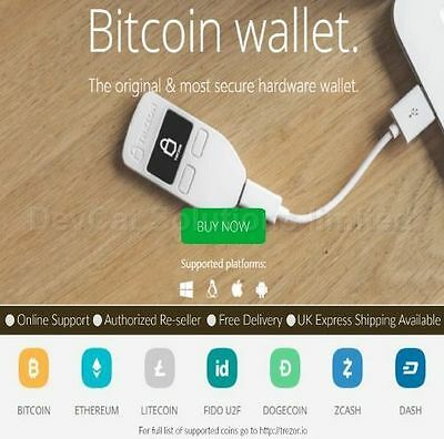 Trezor Crypto Currency Hardware Wallet - Black - Authorized dealer