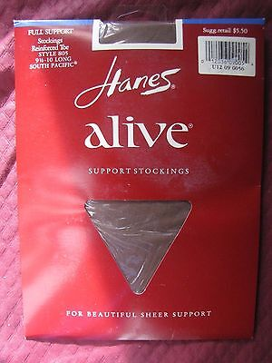 Hanes Full Support  Stockings  9 1/2-10 Long South Pacific Nos