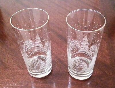 Set of 2 Arby's Etched Winter Trees Scene Tall Tumblers with gold rim Glasses