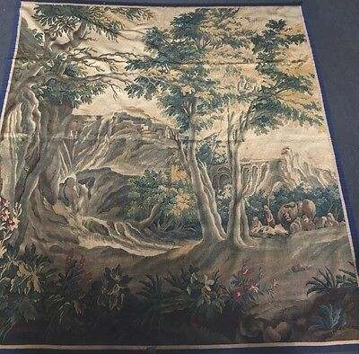ANTIQUE TAPESTRY AUBUSSON VERDURE 18th century 7.5  High 6,5 Feet Wide