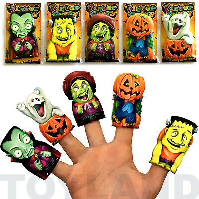 5 x HALLOWEEN FINGER PUPPETS PUMPKIN GHOST WITCH KIDS TOY GIFT PARTY BAG FILLERS