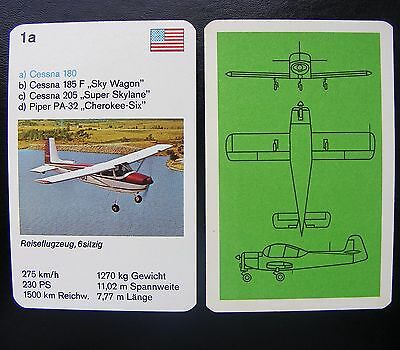 1 Einzelkarte Quartett Flugzeug Aircraft Playing Card Cessna 180