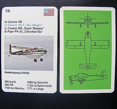 1 Einzelkarte Quartett Flugzeug Aircraft Playing Card Cessna 205 Super Skylane