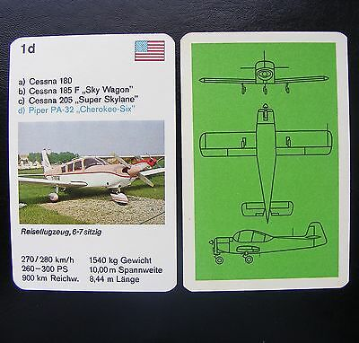 1 Einzelkarte Quartett Flugzeug Aircraft Playing Card Piper PA-32 Cherokee Six