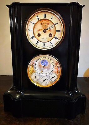 French Perpetual Calendar Mantel Clock with Rare Leap Year Dial and Moonphase