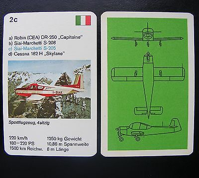 1 Einzelkarte Quartett Flugzeug Aircraft Playing Card Siai-Marchetti S-205