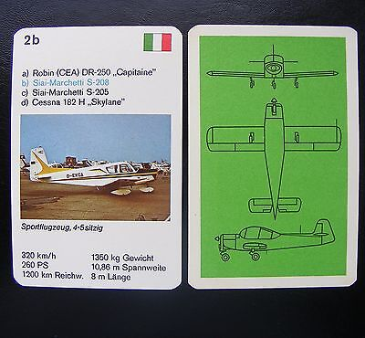 1 Einzelkarte Quartett Flugzeug Aircraft Playing Card Siai-Marchetti S-208