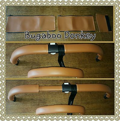 Bugaboo donkey twin TAN faux leather zip on handle bar and 2 bumper bar covers