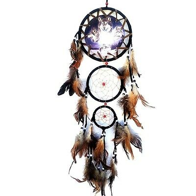 Wolf Dream Catcher with Feathers Wall Decoration Ornament