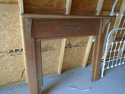 "ANTIQUE OAK FIREPLACE MANTLE SURROUND, 51 1/2"" W by 48 1/2""H, 35 3/4"" W by 36H."