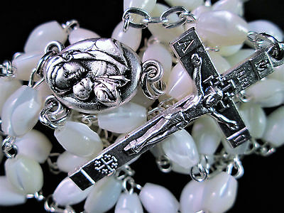 Necklace Bethlehem Palestine Mother of Pearl Bead Rosary Madonna Pewter Crucifix