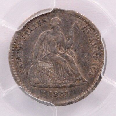PCGS H10C 1861 Seated Half Dime 3% Curved Clipped XF-40