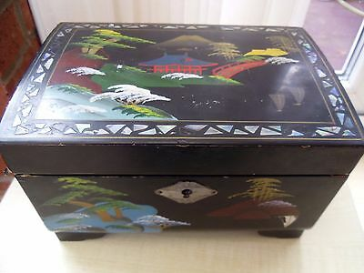 Vintage Japanese Lacquer Wood Jewelry Music Box Hand Painted Bonsai