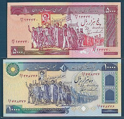 Middle East 5000 10000 Rials, 1983 1981, P 139b 134c / Sign 22, UNC