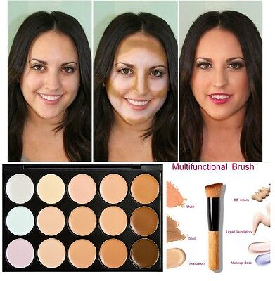 15 Color Contour Concealer Neutral Face Makeup Set Camouflage Palette &Brush #1