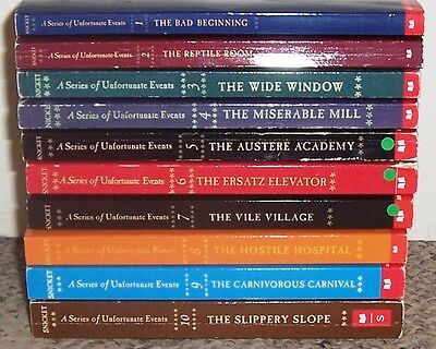 Lemony Snicket A Series of Unfortunate Events #1-10 Books Set Lot Paperback
