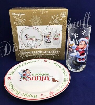 Disney Parks Santa Mickey & Minnie Mouse Cookie Plate & Milk Glass Set for Santa