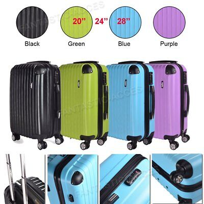 20 24 28 Inch Light 4 Wheeled Travel Luggage Trolley Holdall ABS Suitcase Bag