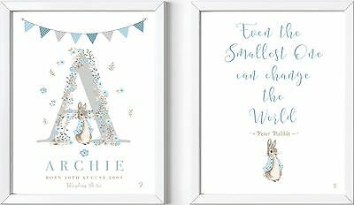 2 Personalised baby child name LASER PRINTS Peter Rabbit nursery picture gift
