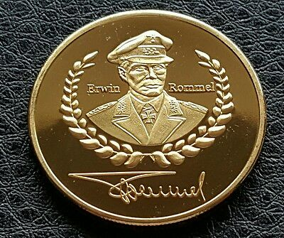 Commemorative Gold Plated German Military General Edwin Rommel Coin