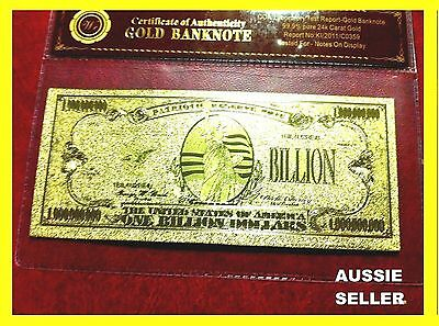 Usa Gold Banknote $1 Billion Note 24Kt Gold  Banknotes Gift 3D