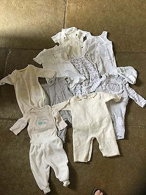 neutral baby clothes bundle 0-3 months white/cream