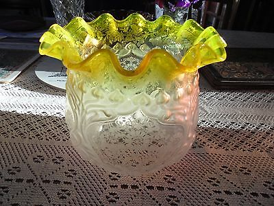 Beautiful Victorian Quality Lemon /yellow Duplex Oil Lamp Shade.