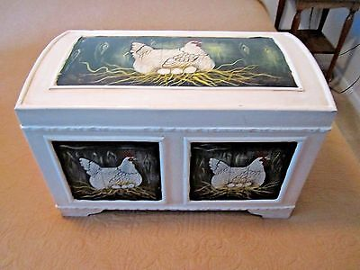 Collectible Warren Kimble Painted Folk Art Henny Penny Rooster Wood Trunk Chest