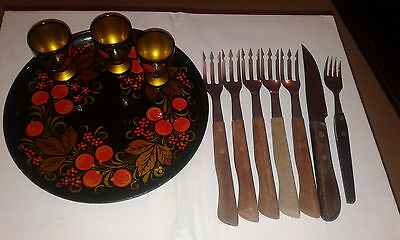 wood fork handle vintage spoon salad serving stainls+panted wooden plate & 3cups