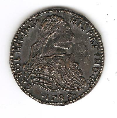 1792 Coin CAROL III HISPETIND R & IN UTRO FELIX AUSPICE DEO 8 S w Crown & Shield