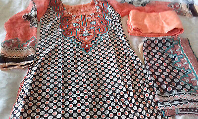 Pakistan Indian  Peachy Pink Paterned Lawn Trouser Suit Small