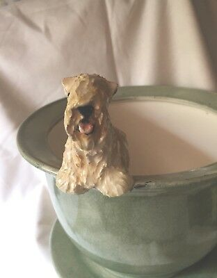 Wheaten Terrier  Hand Sculpted Hand Painted Pot Whimsical By Darci