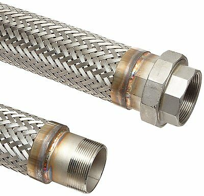 "Unisource SF21 Stainless Steel Flexible Metal Hose Assembly, 3/4"" Stainless Stee"