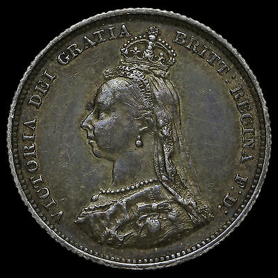 1887 Queen Victoria Jubilee Head Silver Shilling, Scarce Variety, GVF