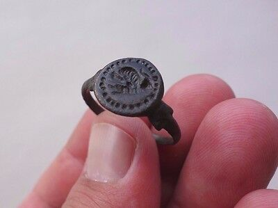 Roman bronze engraved seal ring, displayed a zoomorphic ancient animal