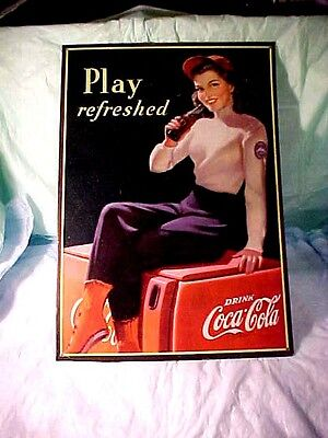 "Coca-Cola "" Play Refreshed "" Tin Sign Vintage Retro 1998 16.7/8"" H x 11 3/4"" W"
