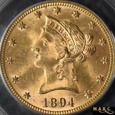1894 MS64 PCGS 10$ Liberty Gold Eagle, Bright and Lustrous!! Free Shipping, MARC