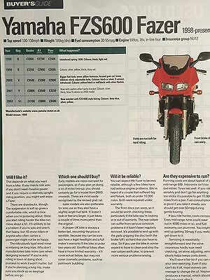 "Yamaha Fzs Fazer 600 - Original 2 Page ""buyers Guide"" Motorcycle Article"