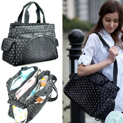 Baby Changing Bag Nappy Tote Insulated Holiday Diaper Bag 3PCS - Black Dot