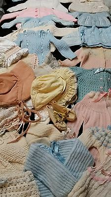 Vintage Lot Of Infant Sweaters, Hats, Diaper Covers